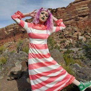 Dainty Jewells Peach & White Stripe Maxi Dress